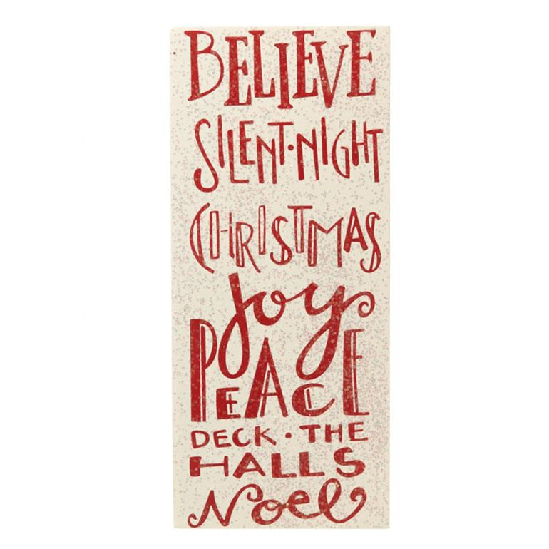 Believe Silent Night Red Glitter Wooden Plaque