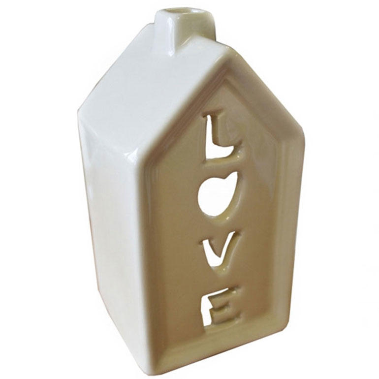 Cream Ceramic House Tea Light Candle Holder