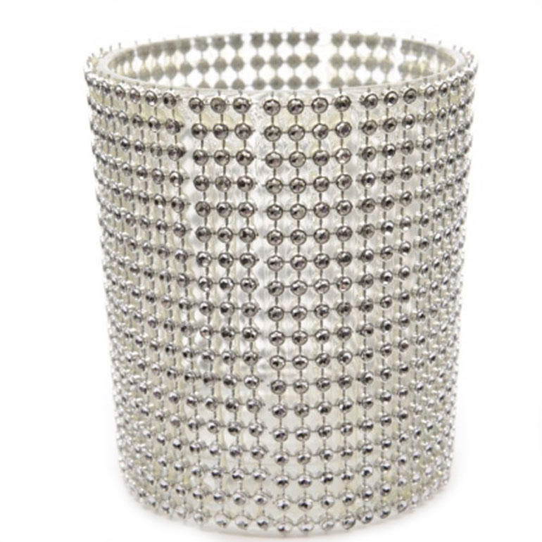 Silver Diamente Covered Small Tealight Candle Holder