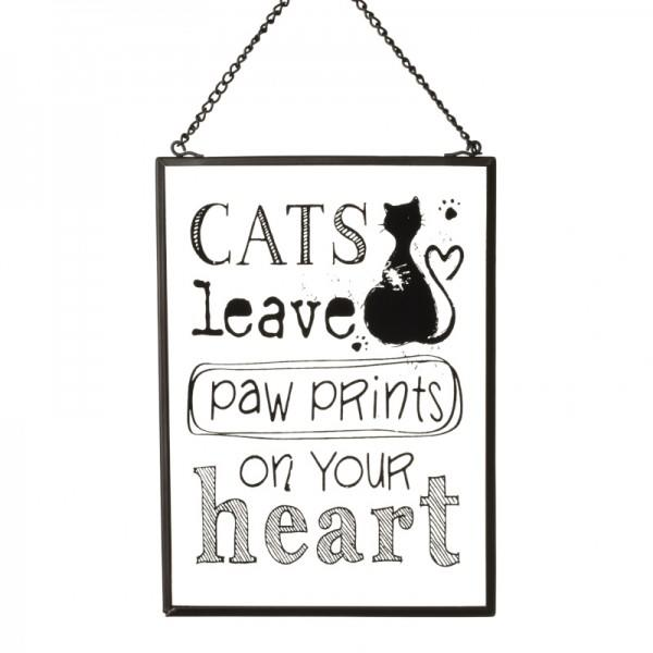 Vintage Glass Wall Sign Cats Leave Paw Prints