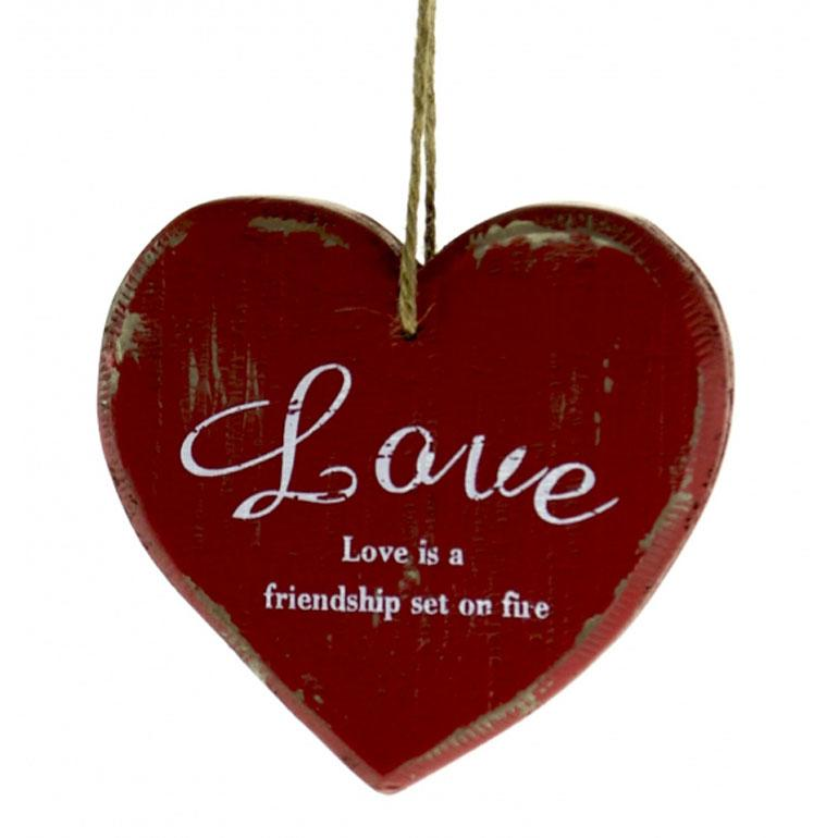 Large Chunky Rustic Red Hanging Love Heart