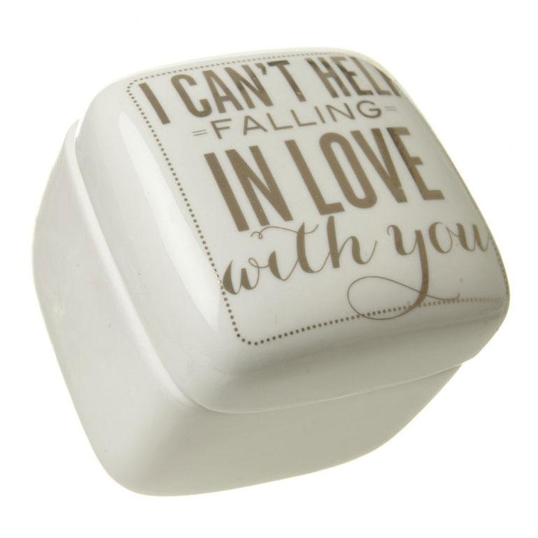 Cream Porcelain In Love With You Trinket Pot