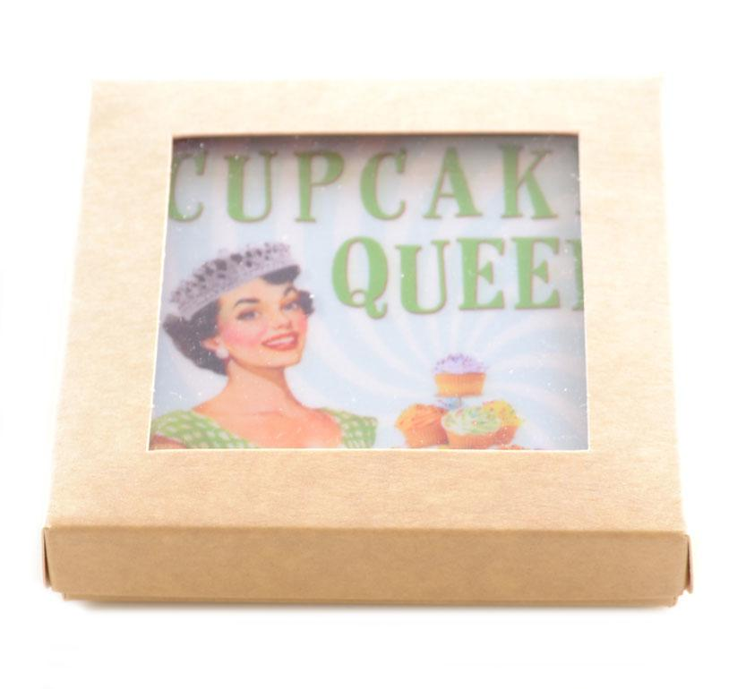 Retro Cupcake Queen Melamine Coasters Gift Boxed