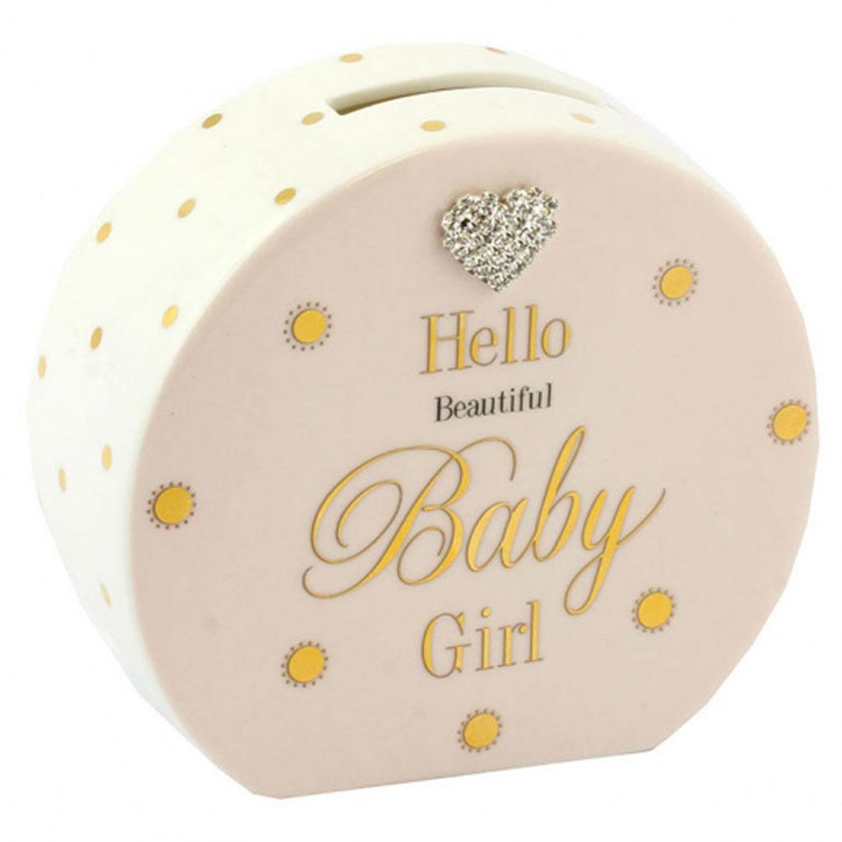 Pink Baby Girl Ceramic Dotty Money Box
