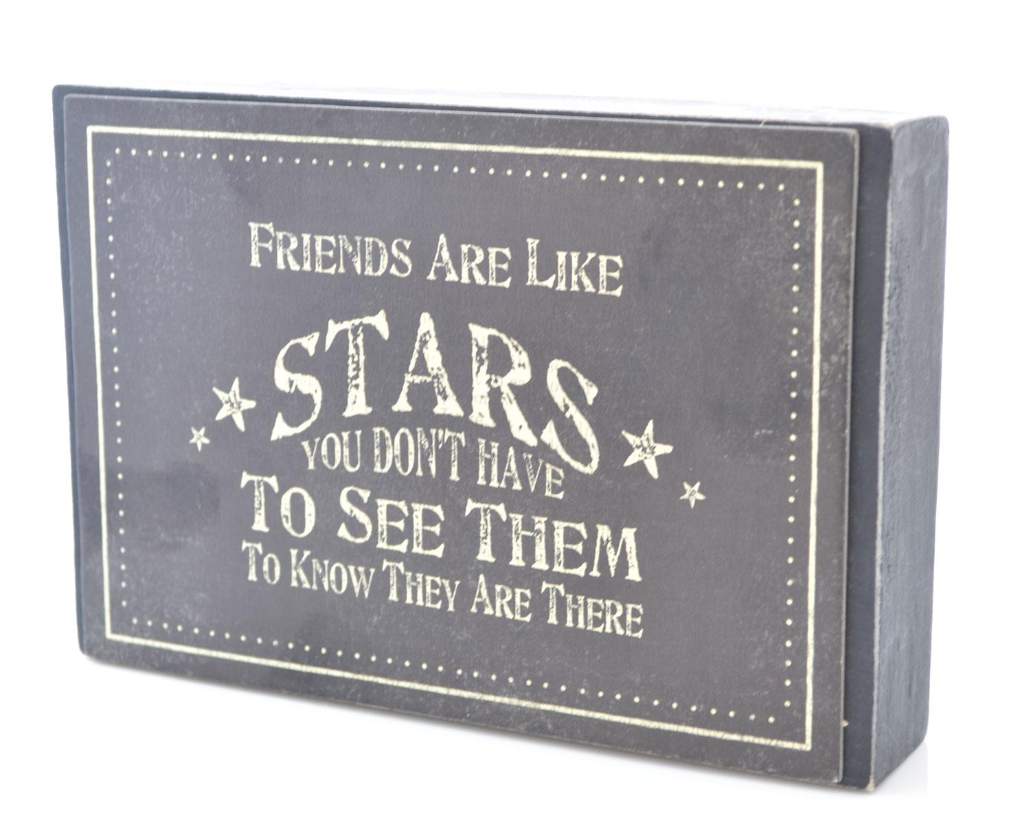 Dark Wood Friends Are Like Stars Block Plaque