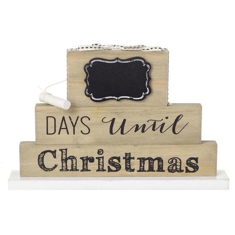 Rustic Countdown To Christmas Wood Block