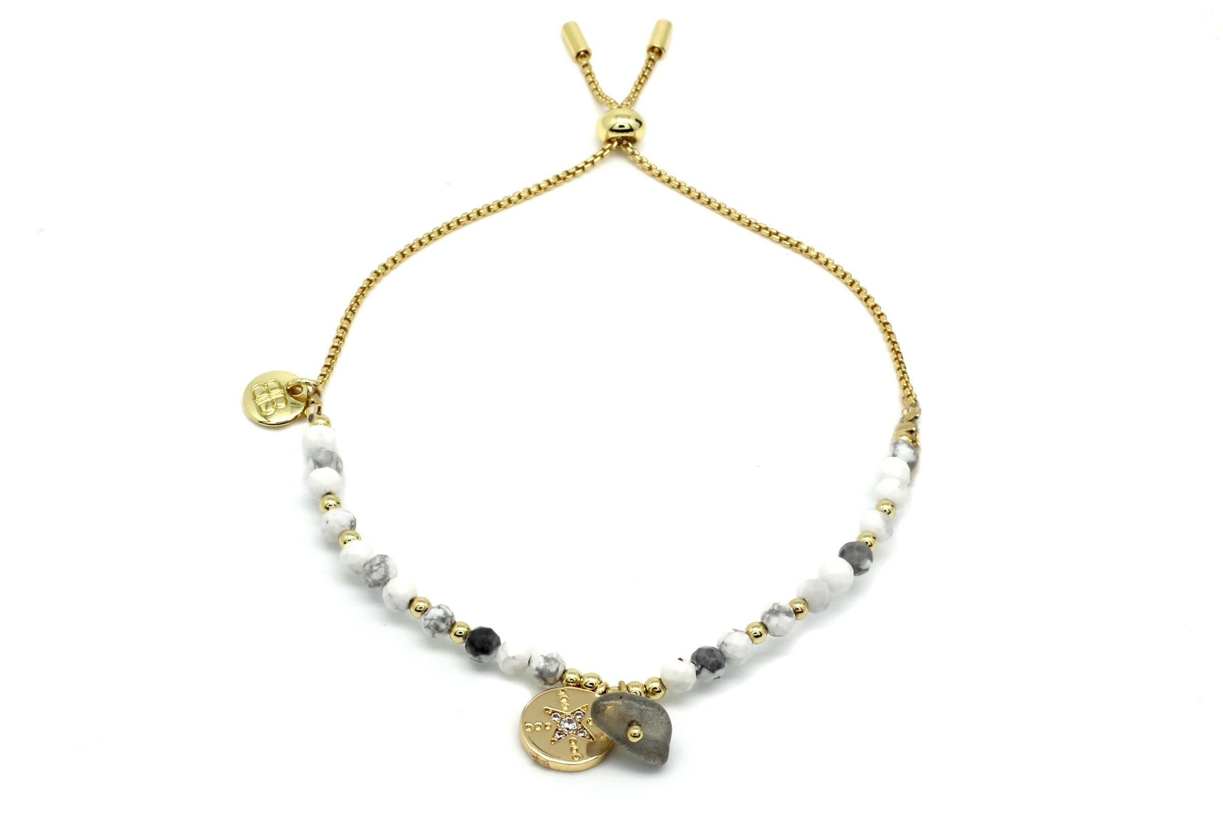 Image#1 Amrum Natural White & Gold Charm Bracelet