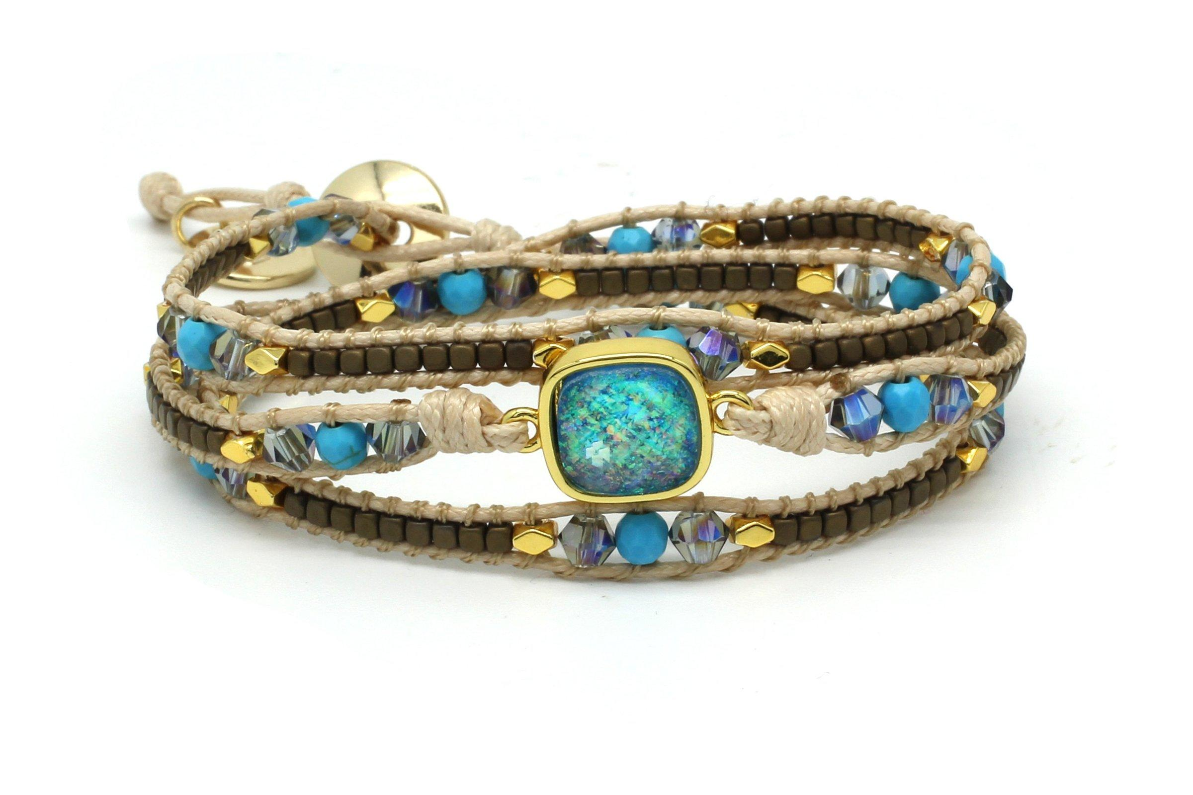 Image#1 America Turquoise Leather Triple Wrap Bracelet