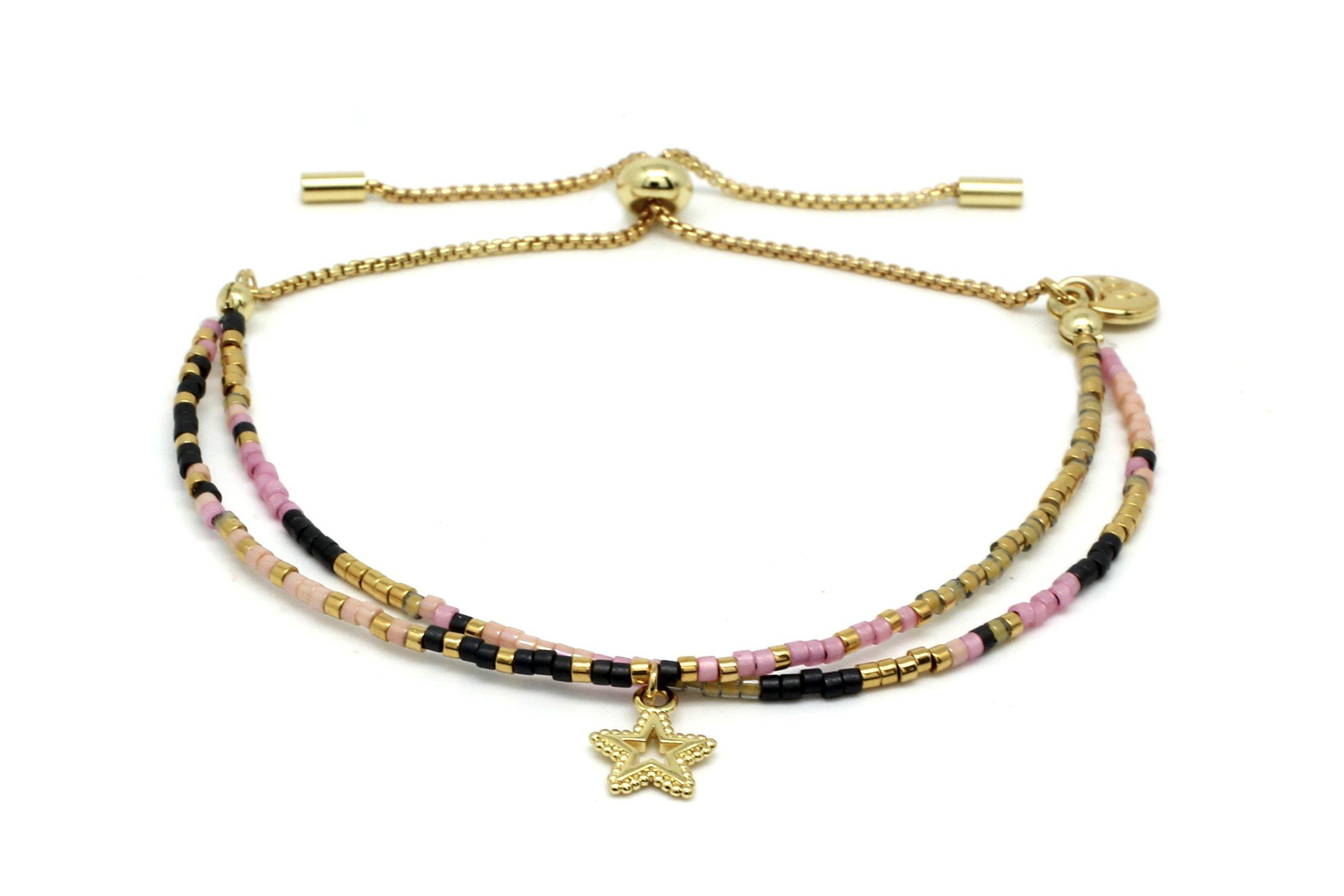 Image#1 Clarinet Pink Double Beaded Bracelet with Star Charm
