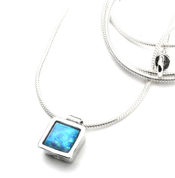 Square Created Opal Necklace