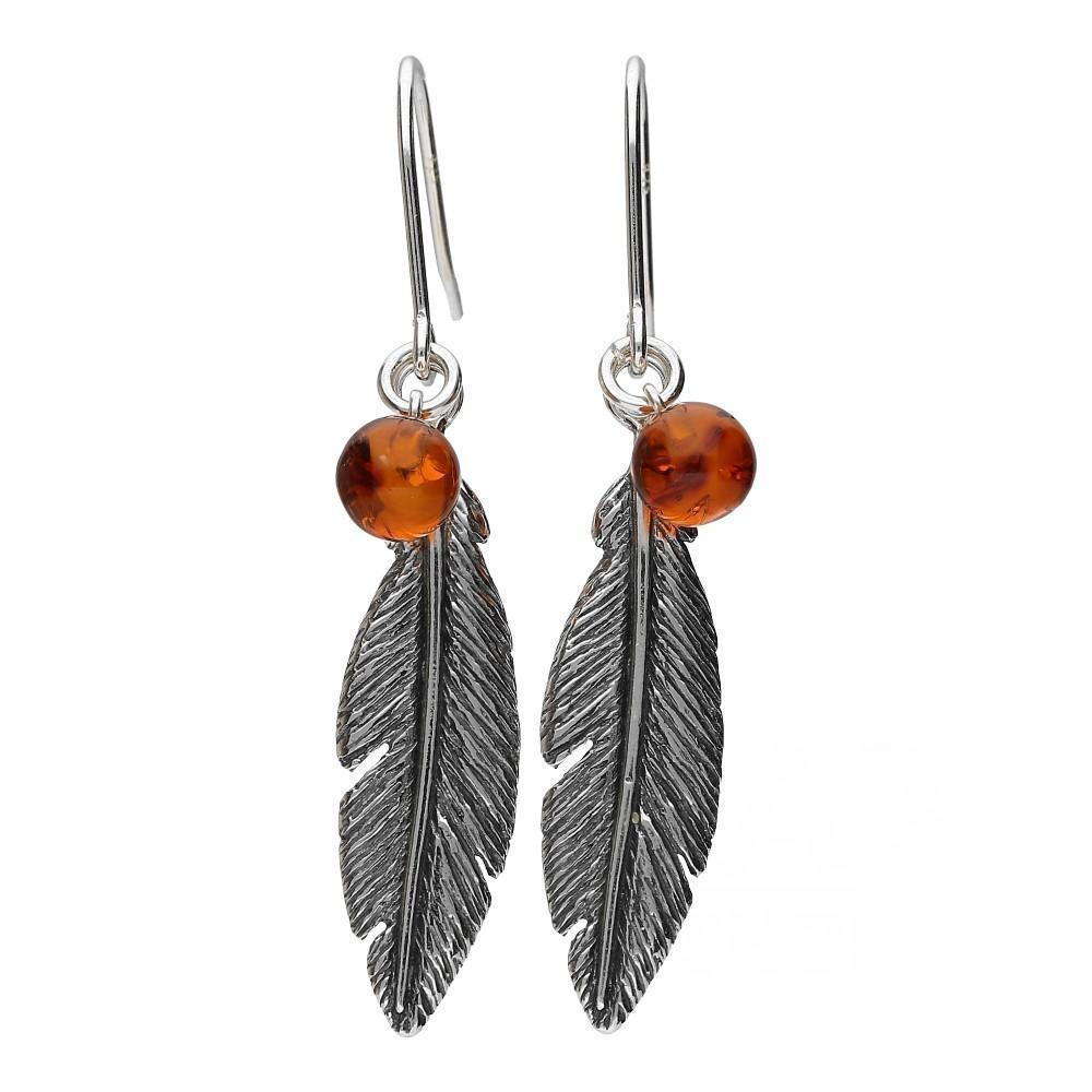 Brown Amber Feather Earrings