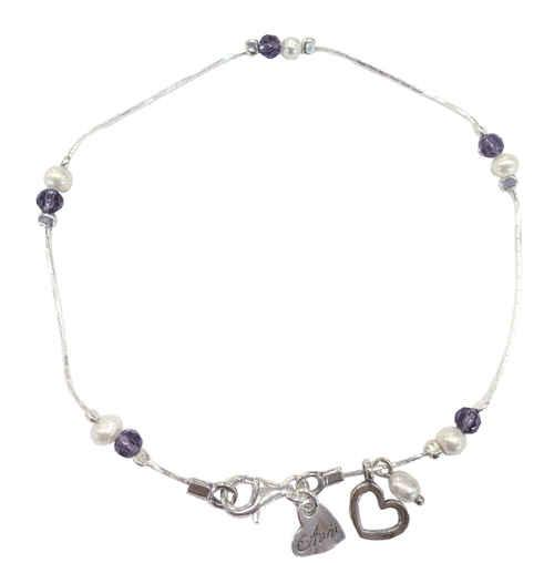 Pearl and Amethyst Bead Anklet