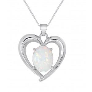 Silver White Created Opal Pendant with an adjustable Curb Chain