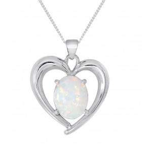 "Silver White Created Opal Pendant with 18"" Curb Chain"