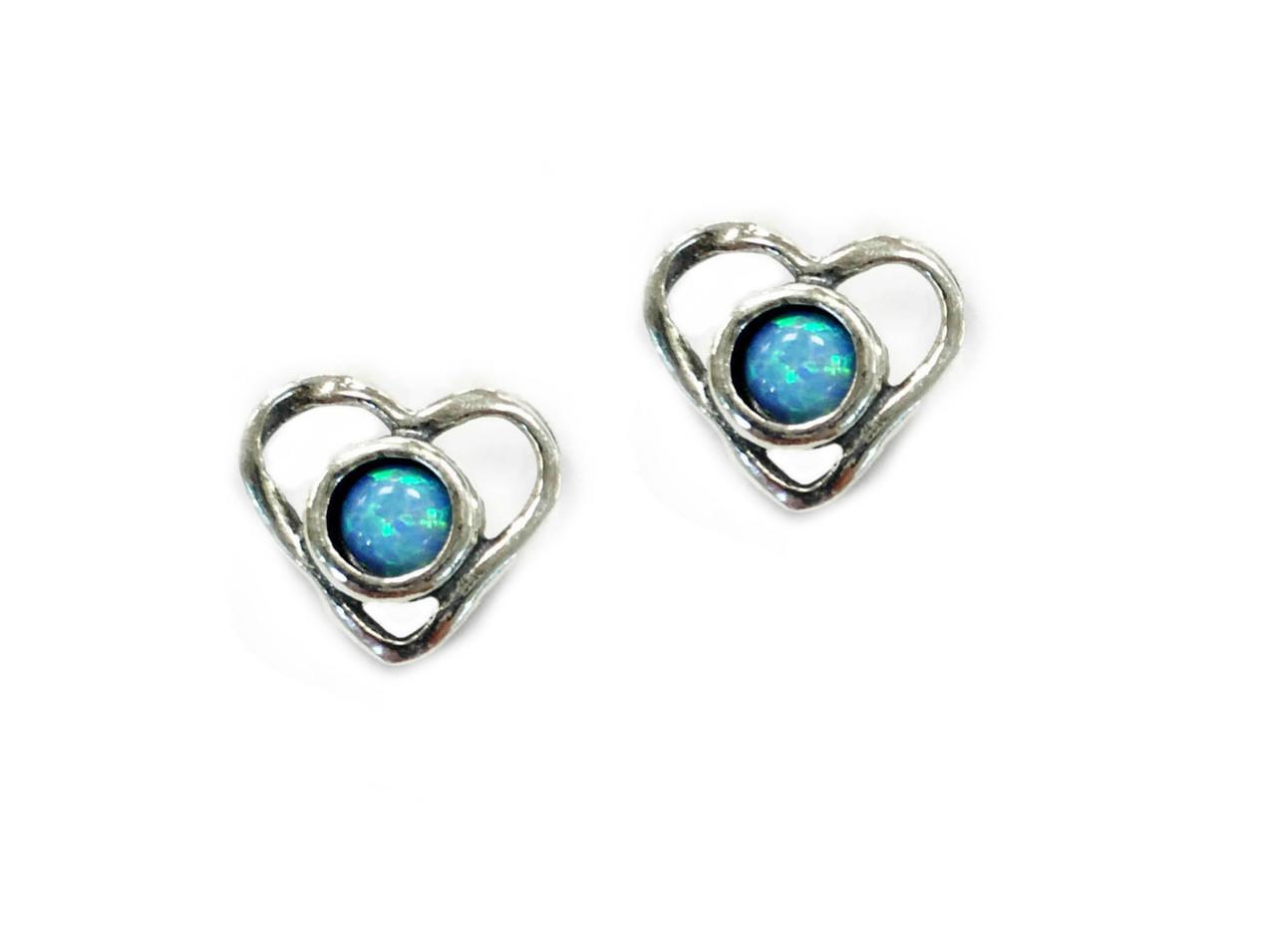 Silver and Opal Love Heart Stud Earrings
