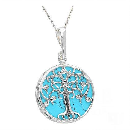 Round Medium Turquoise & Crystal Tree Of Life Pendant