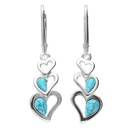 Triple Heart Turquoise Drop Earrings