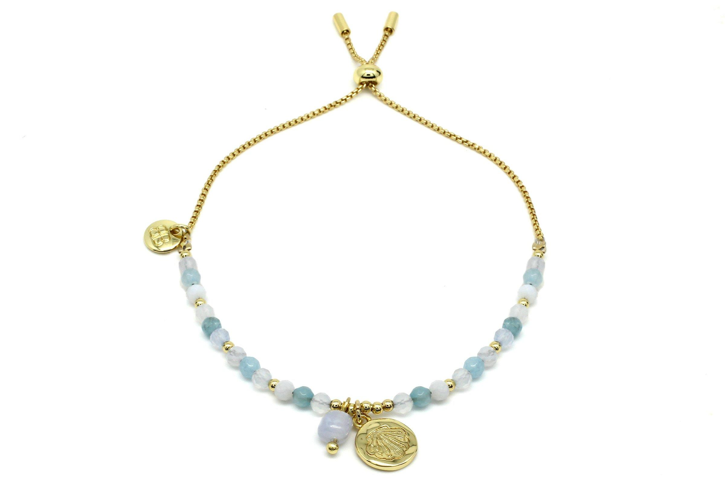 Image#1 Amrum Light Blue & Gold Charm Bracelet