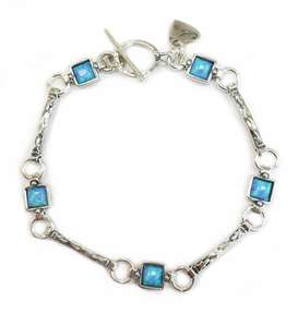 Silver And Created Opal Bracelet