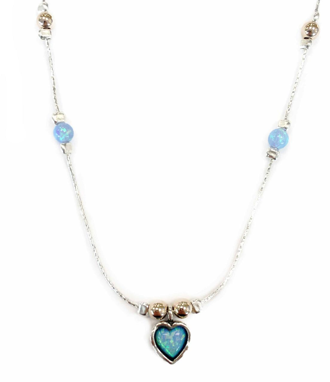 Created Opal Gold And Silver Necklace