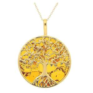 Medium Brown Amber Tree of Life Gold Pendant