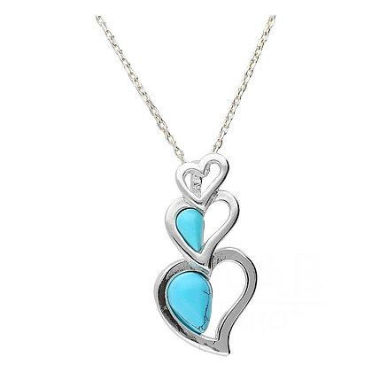 Three Open Hearts Turquoise Pendant