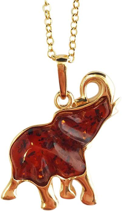 Medium Rose Gold Plated Brown Amber Elephant Head Pendant