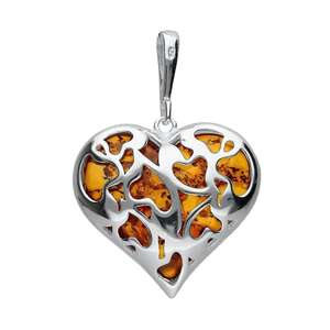 Large Cut Out Brown Amber Heart Pendant