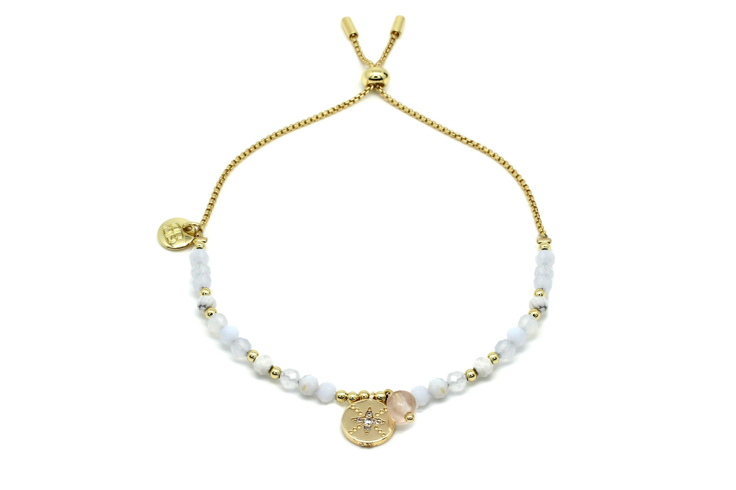 Image#1 Amrum Pale Grey & Gold Charm Bracelet