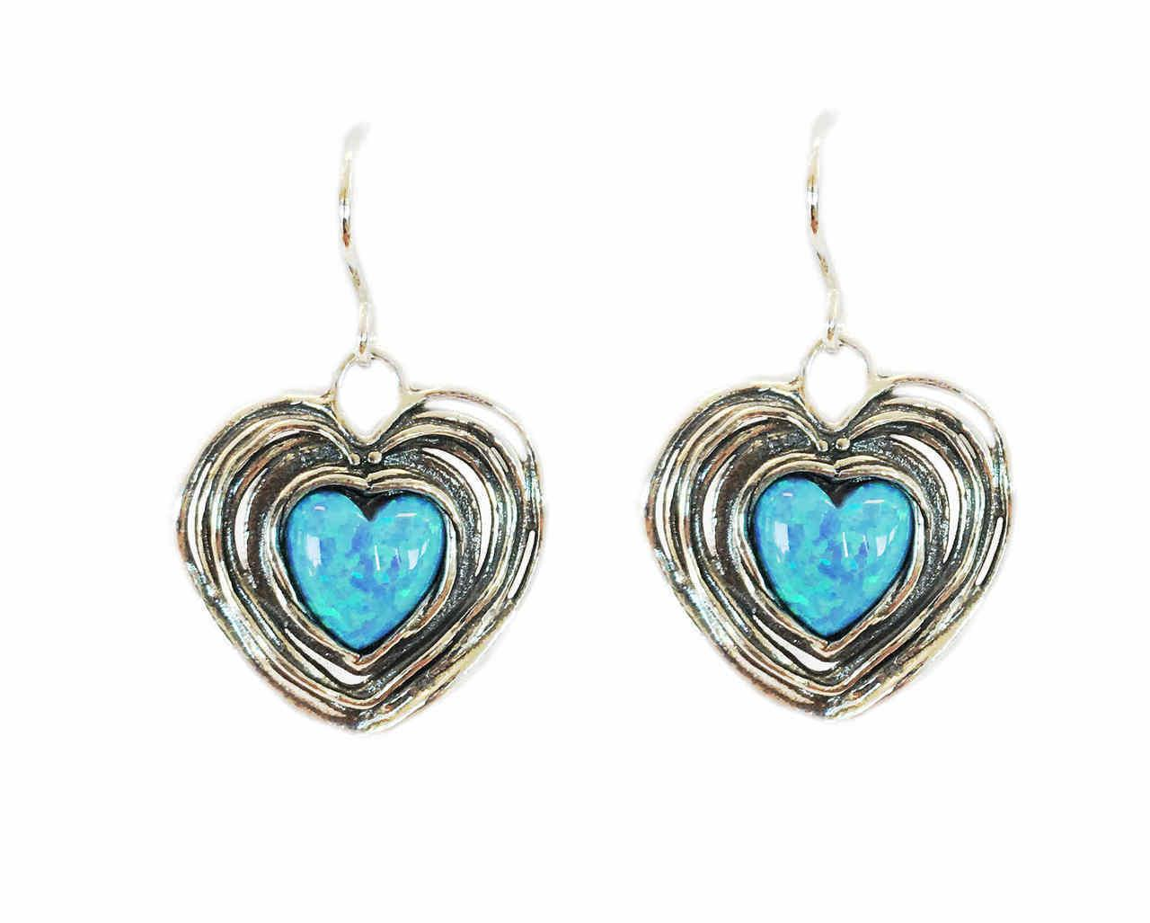 Heart Shaped Created Opal Drop Earrings