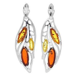 Large 3 Stone Multi Amber Leaf Earrings