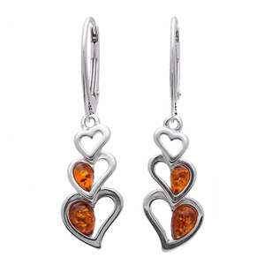 Designer Brown Amber Heart Silver Drop Earrings