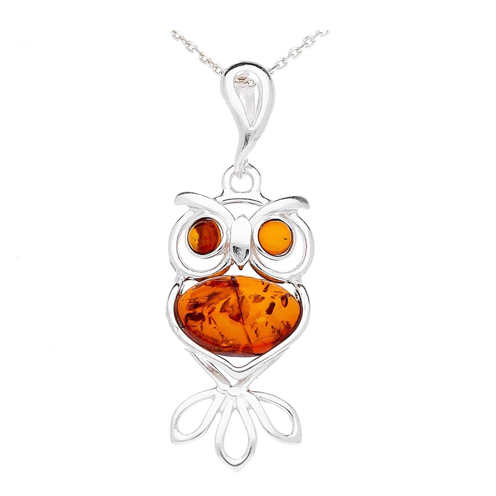 Medium Brown Amber Owl Pendant