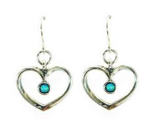 Open Heart And Round Opal Hook Earrings
