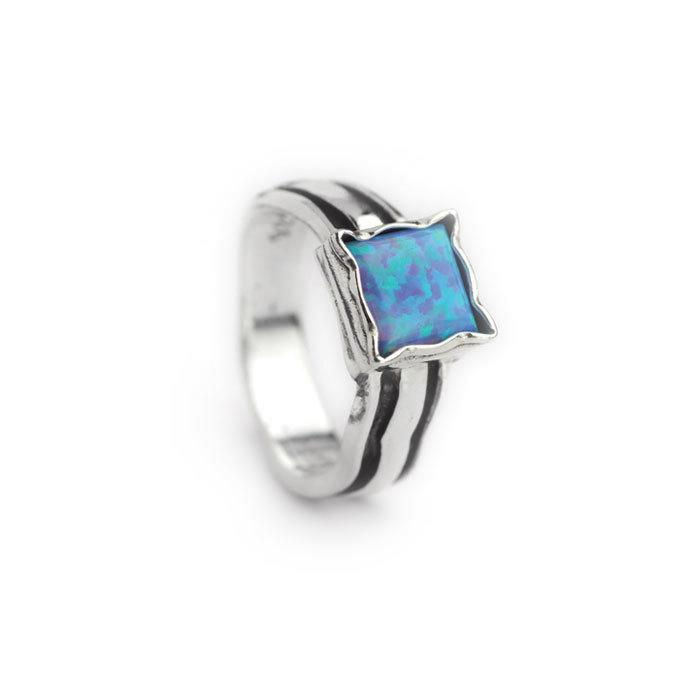 Classic 925 Silver Ring with Big Square Created Opal Stone