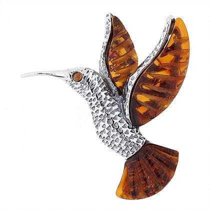 Artico Brown Amber Oxidised Silver Hummingbird Brooch