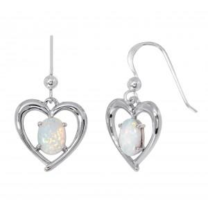Silver White Created Opal Drop Earring