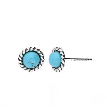 Silver Rope Round Oxidised Turquoise Stud Earrings