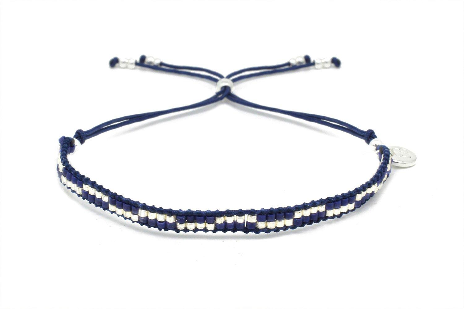 Image#1 Carnival Navy Blue & Silver Dual Row Beaded Friendship Bracelet