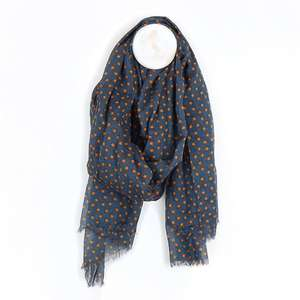 Image#1 Navy And Orange Star Print Cotton Scarf