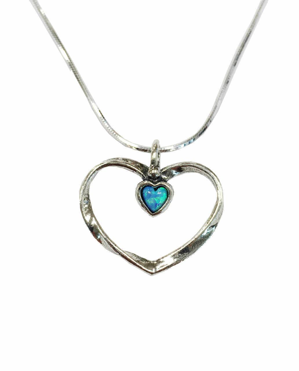 Open Heart With Small Opal Necklace