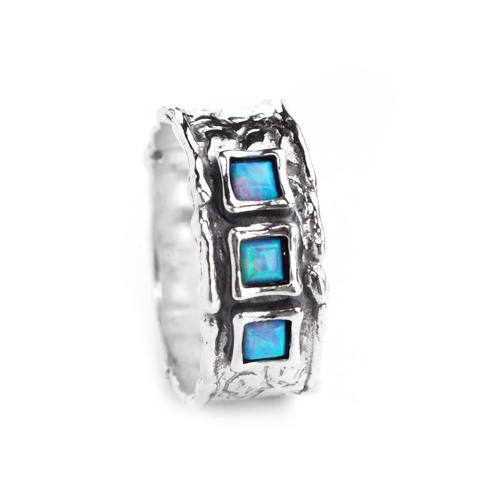 3 Square Opal Stones Silver Ring - Size N