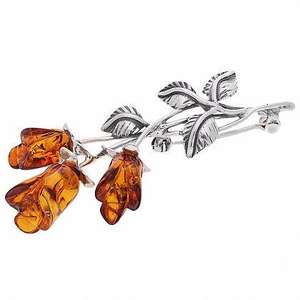 Artico Brown Amber 3 Rose Brooch