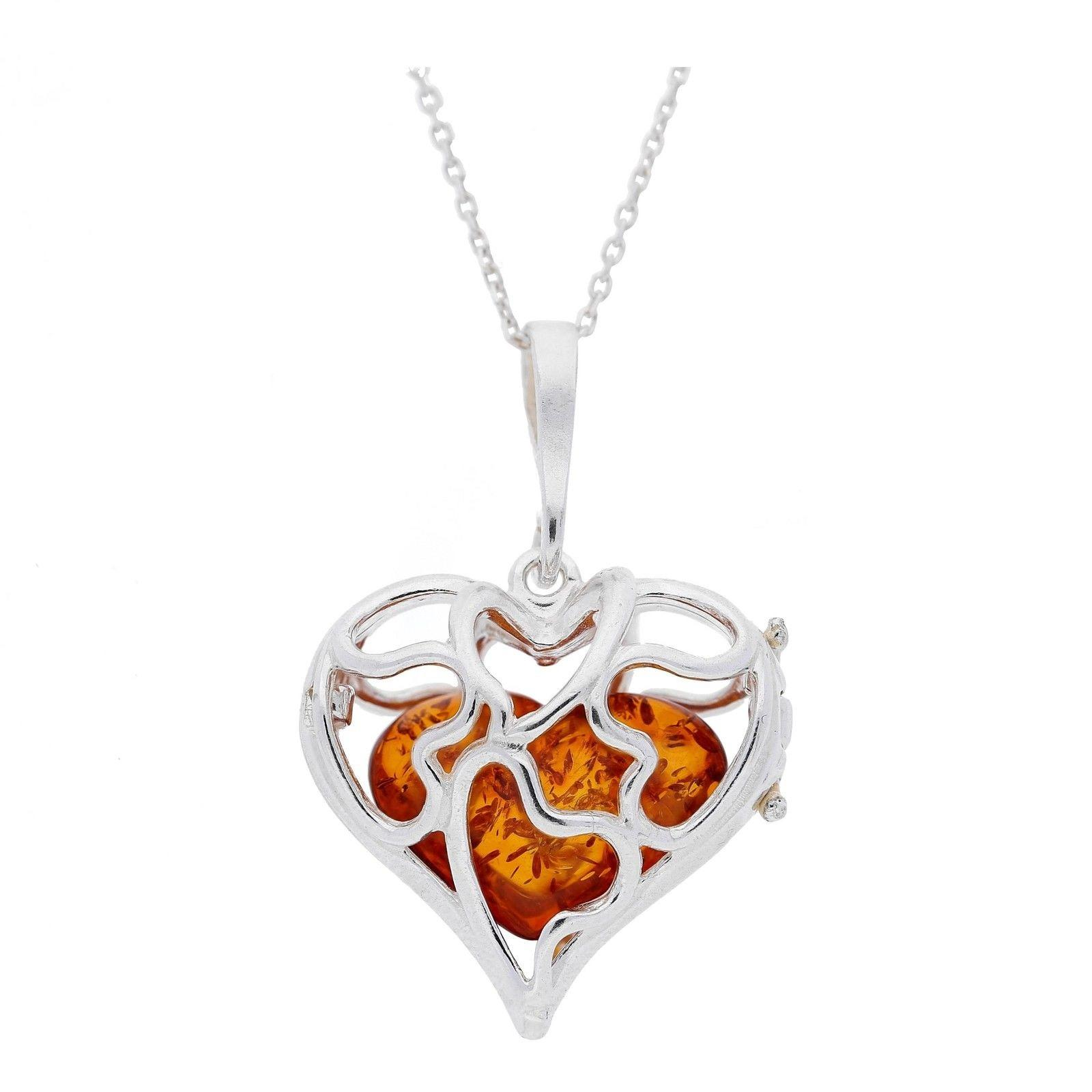 20mm Brown Amber Silver Cage Heart Pendant
