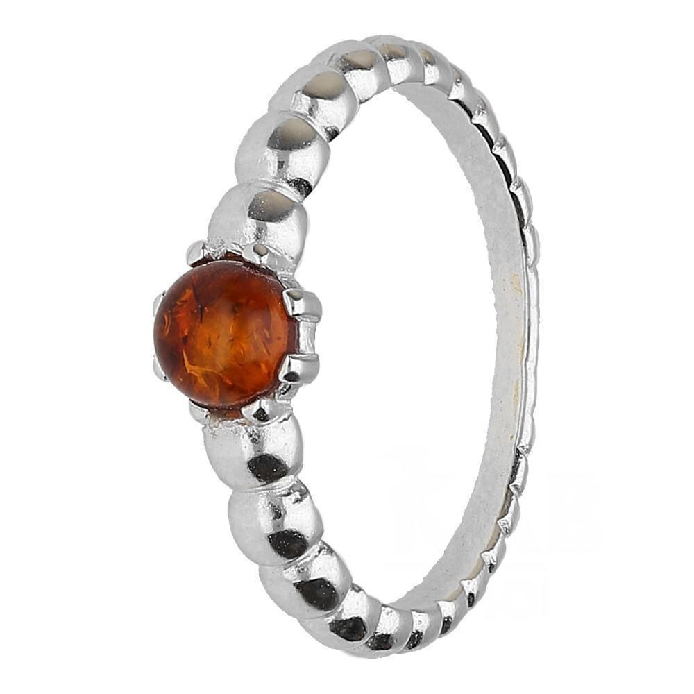 Small Brown Amber Ring