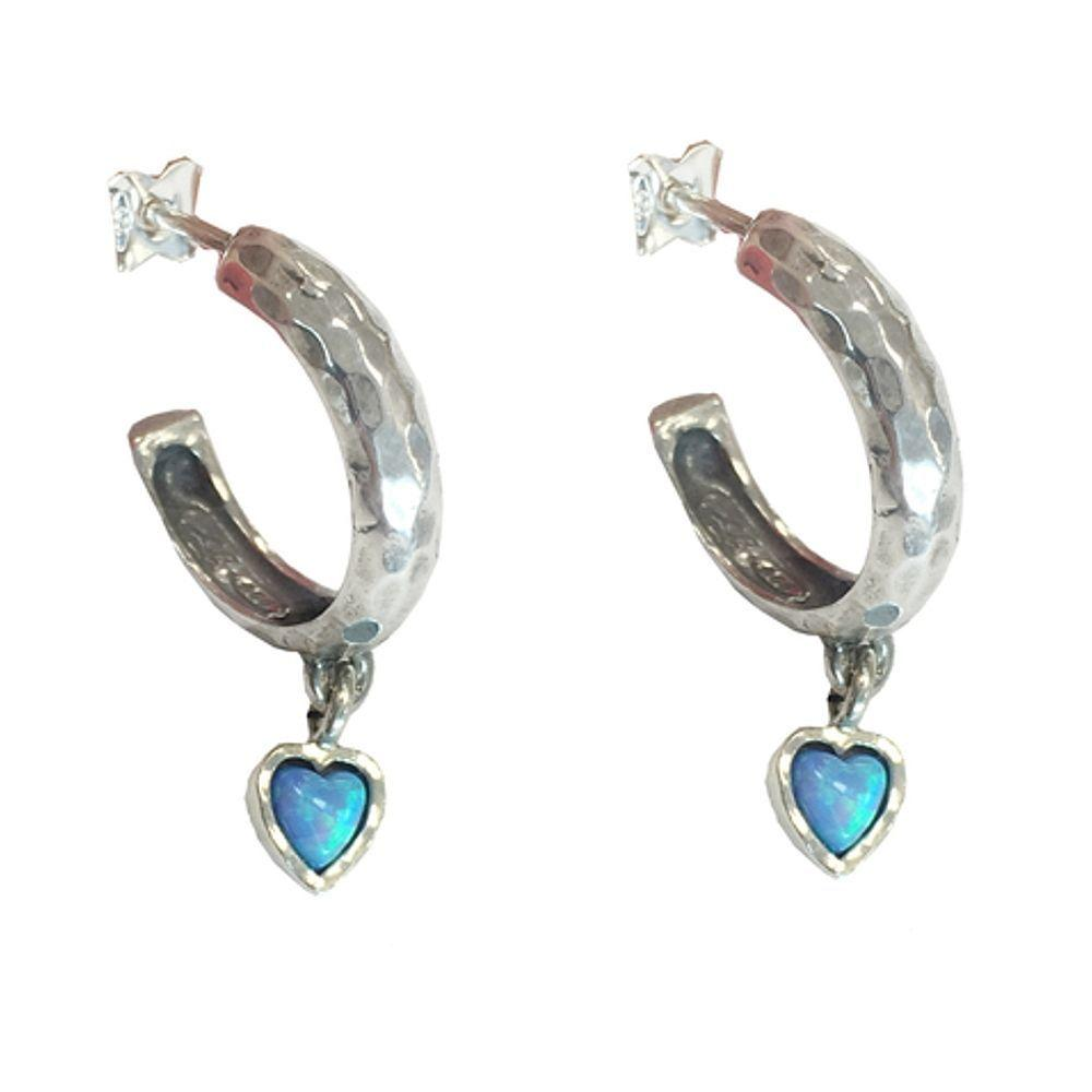 Vintage Half Hoop Stud Earrings with Opalite Heart