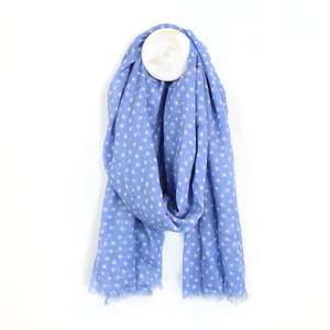 Image#1 Blue And White Star Print Cotton Scarf