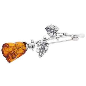Artico Medium Brown Amber Single Rose Brooch