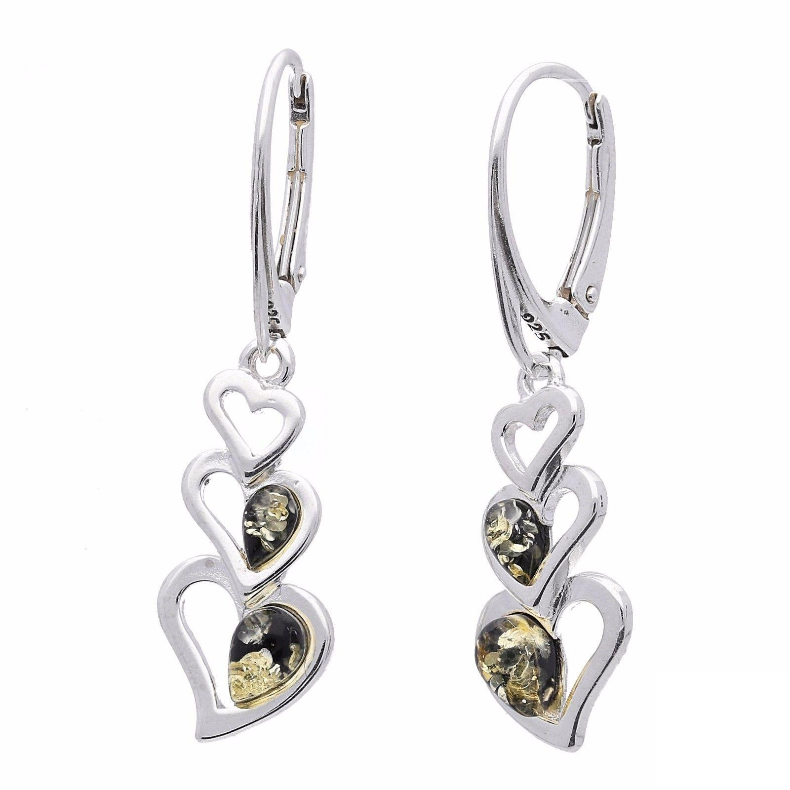 Designer Green Amber Heart Silver Drop Earrings