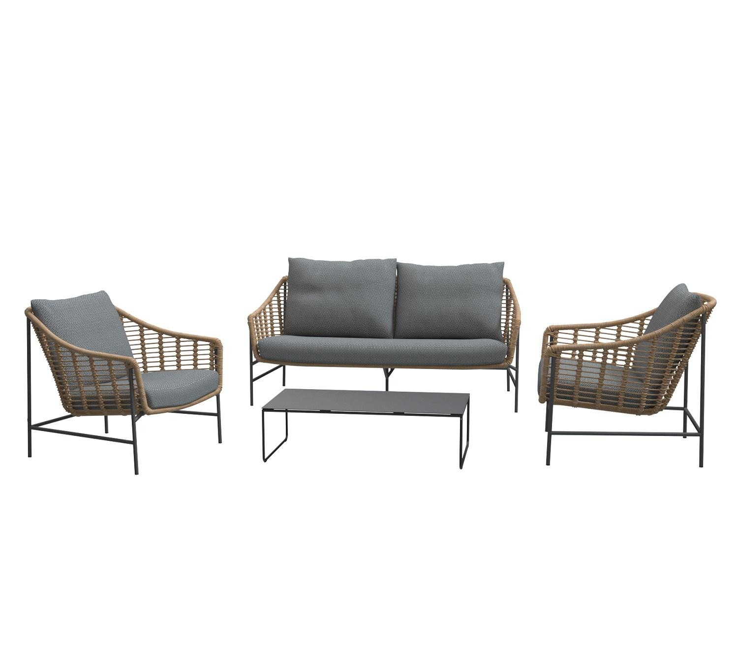 outdoor garden lounge furniture set sofa and 2 armchairs and coffee table all weather rope weave